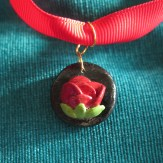 Rose and ribbon necklace close-up